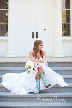 Country style! Bride in Blue Boots. Photo by Rebecca Long Photography