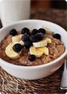 Overnight Maple & Brown Sugar Oatmeal-put it in the crockpot before you head to bed and it's ready in the morning.