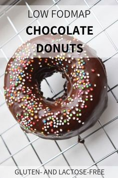 Low FODMAP Chocolate Donuts - baked in the oven (gluten-f - Best Lactose Free Diet Lactose Free Diet, Lactose Free Recipes, Fodmap Recipes, Gluten Free Baking, Vegan Recipes, Fodmap Dessert Recipe, Fodmap Baking, Fodmap Breakfast, Low Fodmap