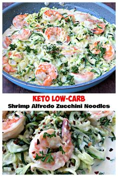 Keto LowCarb Creamy Garlic Shrimp Alfredo Zucchini Noodles (Zoodles) are a quick . - Recipes and Ideas - Keto LowCarb Creamy Garlic Shrimp Alfredo Zucchini Noodles (Zoodles) are a quick … - Low Carb Recipes, Diet Recipes, Cooking Recipes, Healthy Recipes, Recipes Dinner, Dinner Ideas, Healthy Low Carb Meals, Low Carb Zucchini Recipes, Recipe Zucchini