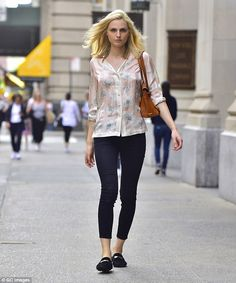 Blooming beautiful! Transgender model Andreja Pejic dons floral blouse for summer stroll around New York