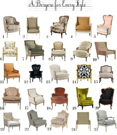 Elegant Chair types and names pleasurable Different Kinds of Chairs - Hair Styles Poltrona Bergere, Bergere Chair, Sofa Design, Interior Design, French Furniture, Home Furniture, Classic Furniture, Cheap Furniture, Furniture Styles