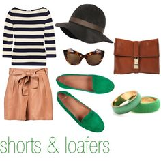 A relaxing outfit like this for the Farmers Market. Found at polyvore.com  Moschino Sweater, Wish-Mile shorts, Cozy Green Suede Loafers, Dries Van Noten Bracelets, Lanvin Hat, and Sabre Vision glasses