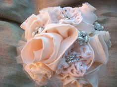 Items similar to Wedding Bride Pale Peach Blush Handmade Bouquet Organza, Satin, Tulle'. Taffeta Rosettes Crystal Accents on Etsy Country Wedding Bouquets, Wedding Country, Peach Blush, Country Decor, Wedding Bride, Unique Jewelry, Handmade Gifts, Etsy, Vintage