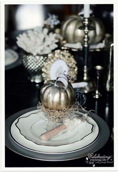 Silver Pumpkin Placesetting, Elegant Halloween Decor, Pumpkin Decoration, Halloween Placesetting, Elegant Silver Holiday Placesetting