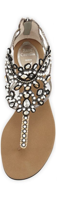rene coavilla - beaded rhinestone white and black sandals Pretty Shoes, Beautiful Shoes, Cute Shoes, Me Too Shoes, Dream Shoes, Crazy Shoes, Cute Sandals, Shoes Sandals, Flat Sandals