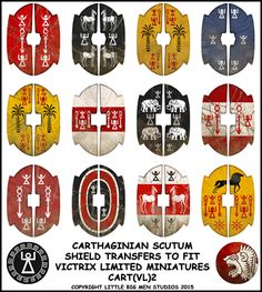1 of six new Carthaginian shield designs for the new Victrix figure sets. Images of all 6 sets are on the website and Facebook.