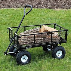Review more details here Sunnydaze Black Heavy-Duty Steel Log Cart, 34 Inches Long x 18 Inches Wide, 400 Pound Weight Capacity -- Gardening DIY