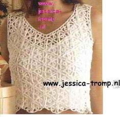 White top with triangle flower. You can add sleeves too, if you want - free crochet patterns