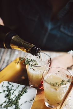Pear Nectar & Thyme Mimosa. The perfect fall cocktail