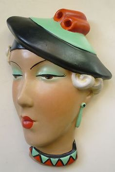 Stylish Deco 30s Style Wall Mask Face Plaque Plaster Chalkware Reproduction | eBay