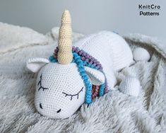 Crochet Rainbow Unicorn Pillow Pattern PDF Crochet Interior | Etsy Crochet Gifts, Crochet Toys, Unicorn Pillow, Photo Pattern, Rainbow Unicorn, Toy Unicorn, Handmade Baby Quilts, Crochet Unicorn, Crochet Pillow