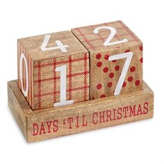 BEST SELLER! Festive large numbered wooden blocks rotate to count down the days until Christmas! Make sure you don't forget the big day. Kids can even join in the fun rotating the blocks and building