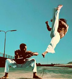 A karate kick in mid air.