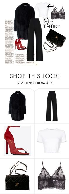 """""""Dinner?"""" by jeafil on Polyvore featuring McQ by Alexander McQueen, Yves Saint Laurent, Rosetta Getty, Chanel, Anine Bing and MyFaveTshirt"""