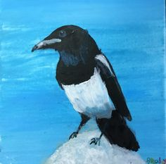 The Magpie - Acrylic painting by young student Bradley M. Magpie, Art School, Whale, Student, Gallery, Painting, Animals, Whales, Animales