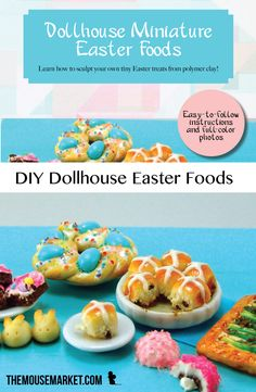 Learn how to sculpt miniature polymer clay foods for Easter, like hot cross buns, an asparagus tart, and Italian Easter bread, with this easy-to-follow tutorial!