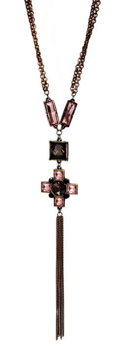Colar com Pingente em metal envelhecido e pedrarias Light Rosê e Black Diamond  By Argolla Bijoux & Bureau   #bijoux #design exclusivo #colar #ouroenvelhecido #necklace  #fashiontrend #blogdemoda
