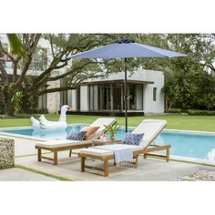 Matheny Reclining Chaise Lounge with Cushion Small Backyard Pools, Backyard Pool Designs, Pool Furniture, Outdoor Furniture Sets, Outdoor Spaces, Outdoor Living, Pool Lounge Chairs, Rectangular Pool, Modern Pools