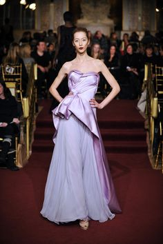 "ZAC POSEN #ZPFW :: Zac Posen Runway Show FW13  ~~ Love the combo of different textures in this dress -- lovely cleanly structured shine ""wraps"" free flowing ethereal draping. Subtle silhouette of the leg as she moves. @Zac Posen"