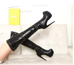 Hot selling over the knee boots for woman 2017 newest punk style rivets studded thigh high boots big size platform long boots