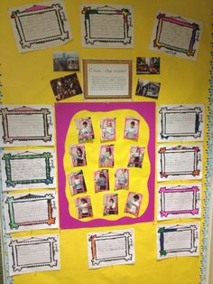 A visible thinking activity...Step Inside!  The kids 'stepped inside' a picture and used their knowledge of the subject to describe the scene.  They wrote their ideas inside picture frames and then presented to the class while standing inside the large pink frame.