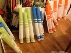 Enlarged markers: Made out of pool noodles