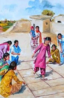 5 Indian Sporting Activities That You Cannot Enjoy Anywhere Else Art Village, Indian Village, Punjab Culture, Childhood Memories Quotes, Childhood Games, Indian Illustration, Pakistani Culture, India Painting, Indian Art Paintings