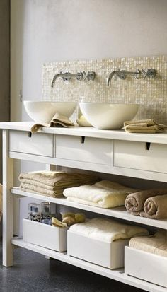 Living etc. Bathroom under sink storage Ikea storage unit. Bad Inspiration, Bathroom Inspiration, Bathroom Ideas, Bathroom Designs, Bathroom Organization, Bathroom Storage, Organized Bathroom, Bathroom Shelves, Living Etc