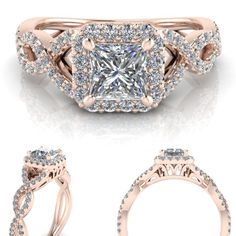 Princess cut moissanite and diamond rose gold engagement ring.