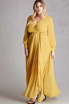 Product Name:Plus Size Surplice Maxi Dress, Category:CLEARANCE_ZERO, Price:45