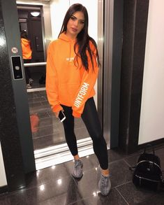 Yeezy outfit - Orange is the new black 🍊😬 my fav sweater 🌝 ad Cute Comfy Outfits, Chill Outfits, Sporty Outfits, Swag Outfits, Mode Outfits, Fashion Outfits, Trendy Outfits, Cute Outfits With Leggings, Rainy Day Outfit For School