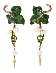 A pair of antique gold, silver, guilloché enamel, diamond and pearl earrings…
