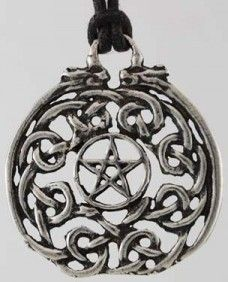 "Serenity Talisman    Formed out of interwoven Celtic knotwork with a pentagram set proudly at its center, this powerful talisman is designed to bring all aspects of serenity into your life. Made out of lead-free pewter and measuring 1 1/2"" in diameter, this talisman will strengthen the strands of connection and the feelings of peace and love between you and the world around you.    http://www.pagan-magic.co.uk/shop/amulets-talismans-happiness-peace-serenity-talisman-p-15110.html"
