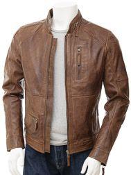 Mens Biker Leather Jacket in Brown: Bellever