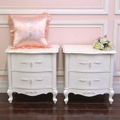 Elegant 2 Drawer Pair Nightstands in Distressed White $595.00 #thebellacottage #shabbychic #OOAK