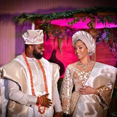 Edo Bride + Yoruba Groom = Awesome Vibes at Trad African Fashion Traditional, African Traditional Wedding, African Inspired Fashion, African Men Fashion, African Fashion Dresses, Traditional Ideas, African Beauty, Nigerian Wedding Dress, African Wedding Attire