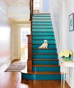 Ombré + coloured staircase = I'm a fan!