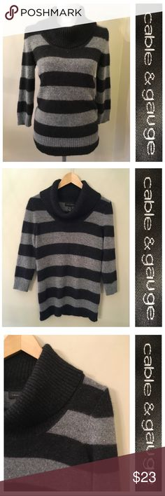 """Cable & Gauge Striped Cowl Neck Sweater Angora S Brand new with tags. No condition. Issues. Soft and fuzzy. 70% nylon 30% angora. Seems to run true to size. Shown in my size 6 mannequin. Please. Impart measurements with something in your closet. Under arm to under arm measures 18.5"""" inches. Sleeve length 19"""" inches. From back of neck to hem 26"""" inches. Kind of a dark and lighter gray in color. Almost looks black. Cable & Gauge Sweaters Cowl & Turtlenecks"""