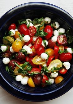 tomato basil salad 1 box of cherry tomatoes 1 tub of mini bocconcini cheese, drained fresh basil leaves, sliced 2-3 Tbsp balsamic vinegar 2-3 Tbsp extra virgin olive oil salt and pepper to taste