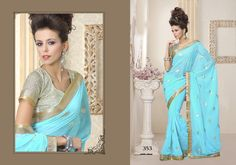 Elegant Sky Blue Saree