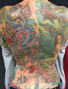 Large back piece lotus paisley ocean themes