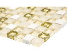 Glasmosaik mit Naturstein XCM M910 30,5x32,5 cm beige/Gold bei HORNBACH 100 Euro qm