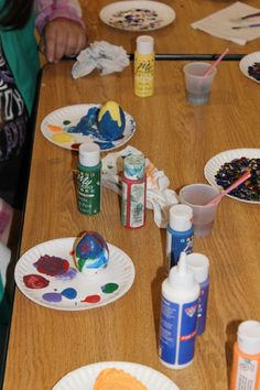 For the older girls, we took wooden eggs for them to decorate- sequins were left over from the younger girls, so some scouts blinged them out with sequins and gems.