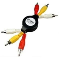 """Cable, Retractable, Stereo RCA & Video, M-M, 4', Zip-Linq * by Cables Unlimited. $7.99. Color-coded connectors: yellow, red, white Connectors: RCA Plug x3 to RCA Plug x3 Length: 48"""""""
