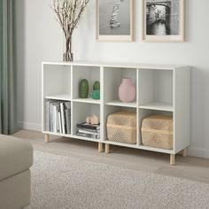 EKET Storage combination with legs - white/wood - IKEA Cube Storage Unit, Storage Spaces, Storage Organizers, Ikea Toy Storage, Ikea Storage Cabinets, Ikea Storage Furniture, Barbie Storage, Toy Storage Shelves, Living Room Toy Storage