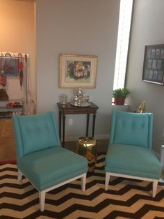 Turquoise chairs from Jonathan Adler