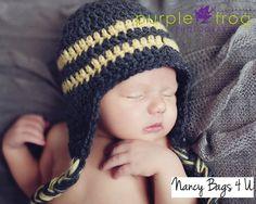 Crochet Baby Boy Hat Photo Prop Newborn Grey Yellow by NancyBags4U, $22.00