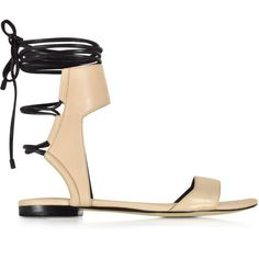 3.1 Phillip Lim Shoes Martini Light Peach and Black Leather Ankle Lace... ($205) ❤ liked on Polyvore featuring shoes, sandals, leather gladiator sandals, open toe sandals, black flat sandals, leather sandals and stacked heel sandals
