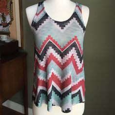 STUNNING AZTEC RACERBACK TEE Gorgeous!!  And so so soft!!  Amazing colors in this racerback. Never worn. Hello spring and summer!! ENTI Tops Tank Tops